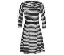 Kleid mit Wabenmuster und Dreiviertelärmeln schwarz / naturweiß