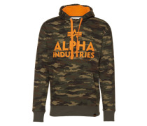 Hoody 'foam Print' khaki / orange