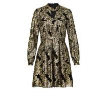 langärmliges Kleid gold / schwarz