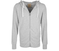 Kapuzensweatjacke 'hooded JKT Stretch' grau