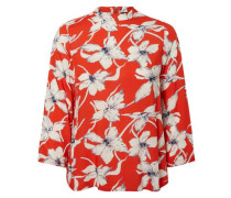 Blumen Bluse mit 3/4 Ärmeln marine / orangerot / weiß