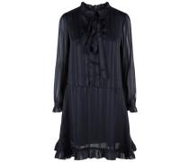 Langärmeliges Volant-Binde-Kleid nachtblau