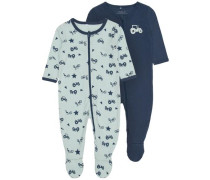 Reißverschluss-Schlafanzug 2er-Pack nachtblau / opal