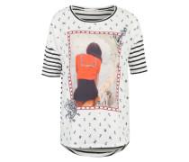 T-Shirt mit maritimem Print weiß