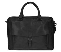Bronco Aktentasche Leder 41 cm Laptopfach schwarz