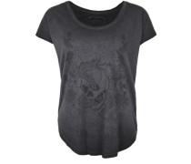 T-Shirt 'crew Rhinestones Flower' schwarz
