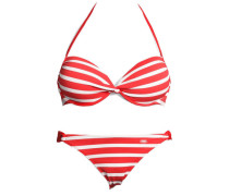 Push-up-Bikini grenadine / cranberry / weiß