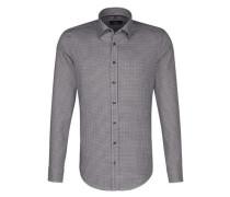 City-Hemd 'Tailored' braun / weiß