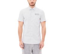 Slim: Gemustertes Flammgarn-Hemd weiß