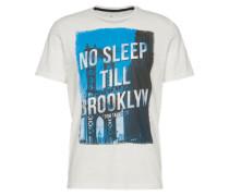 Shirt 'photoprint package tee' blau / weiß