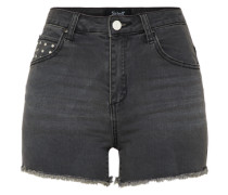 'fuka' Slimfit Jeans Short black denim
