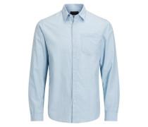 Ein-Taschen-Langarmhemd hellblau