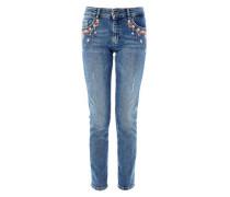 Shape Slim: Jeans mit Stickerei blue denim