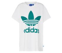 Shirt 'big Trefoil Tee' smaragd / weiß