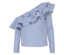 One-Shoulder Shirt rauchblau / weiß