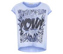 Shirt 'Pow' hellblau / schwarz