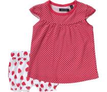 Baby Set T-Shirt + Shorts für Mädchen hellgrün / rot / weiß