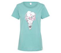 T-Shirt 'Flowery Ice' türkis