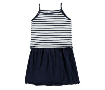 Kleid ärmellos blau / weiß