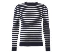 Pullover 'Basic CO str cn' navy / weiß