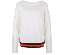 Fleece Sweater 'rib With Stripes' creme / pastellrot / schwarz