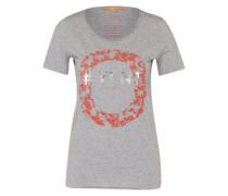 T-Shirt mit Print grau / neonrot