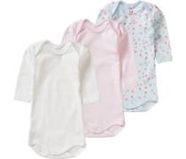 3er-Pack Bodys für Mädchen rauchblau / hellblau / rosa / pastellpink / dunkelpink / silber / naturweiß