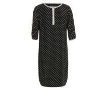Kleid mit Rundhalsausschnitt und Allover-Muster schwarz