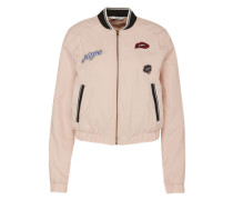 Bomberjacke mit Patches pink