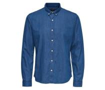 Langarmhemd Einfarbiges blau