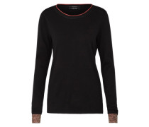 Pullover 'Basic crew neck knit with special ribs' schwarz