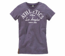 T-Shirt mit Frontdruck lilameliert
