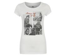 Jersey-Shirt mit Print weiß