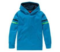Kapuzensweatshirt mit Neon-Streifen am Ärmel blau