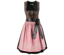 Dirndl midi mit seitlichem Zipp braun / rosa / schwarz