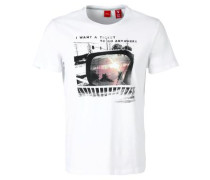 T-Shirt mit abstraktem Print weiß