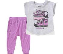 Baby Set T-Shirt + Sweathose grau / lila