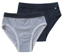 Organic Cotton Doppelpack Slips für Jungen blau / ultramarinblau / dunkelblau / grau