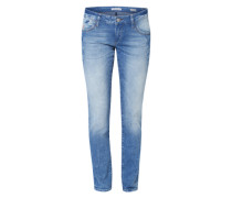 Schmale 5-Pocket Jeans 'Lindy' blue denim