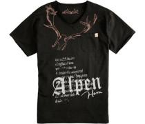 Trachtenshirt mit Printdetails schwarz