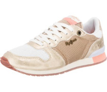 Sneaker Low 'Gable' gold / koralle / weiß