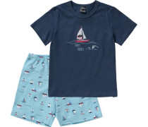 Schlafanzug hellblau / dunkelblau