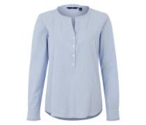 Gestreifte Bluse mit Rüschen-Deko blau