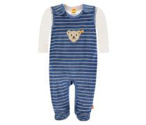 2tlg. Set Strampler + Shirt Jungen / Mädchen Baby blau / hellblau / wollweiß