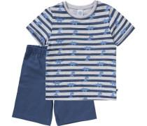 Schlafanzug für Jungen beigemeliert / dunkelblau