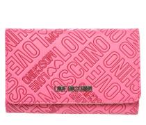 Portemonnaie mit allover Label-Prägung pink