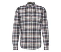 Hemd 'summerly check shirt' navy / koralle / weiß