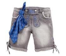 Trachtenbermuda Damen mit dekorativer Schnürung blau / grey denim