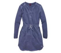 Kleid mit Spitzeneinsatz für Mädchen blau