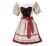 Trachtenkleid Damen im Carmen-Style beige / rot / schwarz
